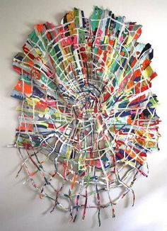 Tangled Web by Andrea Myers 2011 machine sewn fabric collage I would love to own an Andrea Myers original Sculpture Textile, Book Sculpture, Paper Sculptures, Art Fibres Textiles, Textile Fiber Art, Sculpture Projects, Weaving Projects, Clay Projects, Folded Book Art