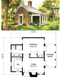 Cute little guest cottage? Tiny House Cabin, Cottage House Plans, Tiny House Living, Tiny House Design, Small House Plans, Cottage Homes, House Floor Plans, Small Cottage Plans, Tiny Home Floor Plans