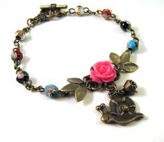Bronzed snail bracelet jewelry resin pink rose flower and cloisonne beads