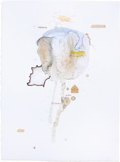 """Up There, Fig. 13. 11"""" x 15""""  – watercolor, pencil, thread, wax, charcoal, india ink, paper, tape  Abstract mixed-media watercolor paintings by Claiborne Colombo."""