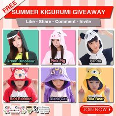 SUMMER KIGURUMI GIVEAWAY! heart emoticon  Want to win one of these cute and comfortable summer onesies? Here's how to: http://on.fb.me/1SOM5qQ JOIN NOW!