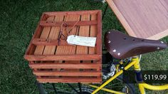 Custom Hand Made Wooden Bicycle Crates & Baskets by RogueWorkshop Wooden Bicycle, Bicycle Race, Bicycle Basket, Bike, Outdoor Furniture, Outdoor Decor, Crates, Handmade Gifts, Baskets