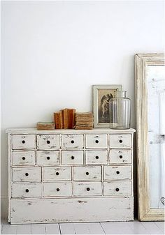 white bureau with drawers- I would kill for one of these.