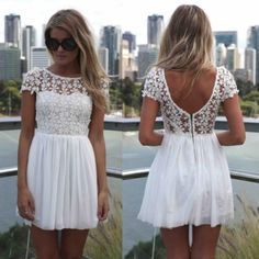 Women Summer Short Sleeve Lace Chiffon Patchwork Dress Casual Floral Pleated Dress