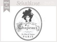 Vintage Schablone * CHAPEAUX * Franske Chic von Basket & Pillow auf DaWanda.com