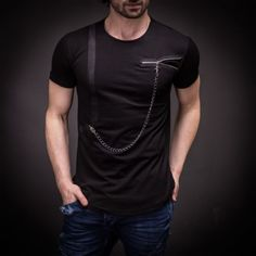 Stylish Mens Zipper and Chain Detail T-Shirt Oversized Fit Cut Slim Fit Tee 3026