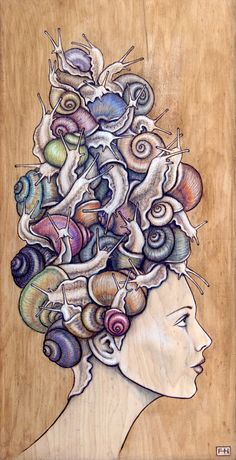 """Snail Do"" – pyrography with coloured pencil and pastel on wood panel #likeabaronet"
