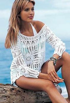 Crochetemoda: Blusa Branca de Crochet; White crochet shirt, beach cover up or dress!