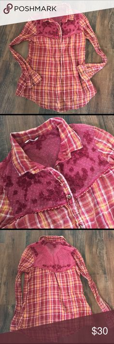 Free People Western Shirt Free People Western Style Shirt. Embroidered detail.  Button up.  Has been thru the wash several times but in overall good condition! Free People Tops Button Down Shirts