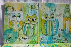 Teal and yellow sweet mixed media Owl painting by Jodi by JodiOhl