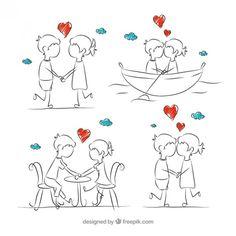 Sketches par romântico no amor Vetor grátis