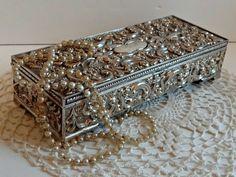 Vintage Godinger Ornate Silver Jewelry Box by TimelessTreasuresbyM on Etsy.