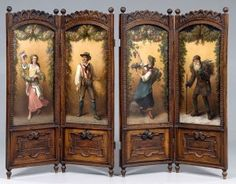 Gorgeous Victorian screen with carving and four paintings of figures depicting the four seasons. The site has many beautiful screens. Victorian Room Divider, Victorian Rooms, Victorian Parlor, Victorian Furniture, Victorian Decor, Victorian Gothic, Vintage Decor, Antique Furniture, Vintage Antiques