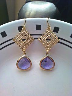 Gold Lace Diamond Pendant with Tanzanite Glass by PacificAndKey, $23.00