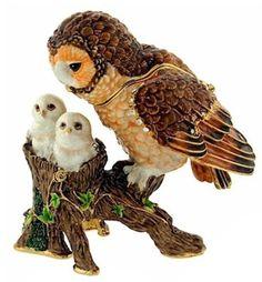 China Barn Owl Family Trinket Box - China Enamel Trinket Box, Jewelry Box