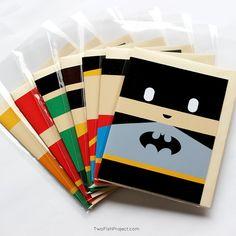 Superhero Birthday / Thank You Cards! Set of 7 Justice League (Batman, Superman, Wonder Woman & more) Greeting Card Set, Handmade, Kids