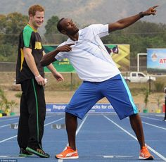 Prince Harry and Usain Bolt from Jamaica, worlds fastest man!