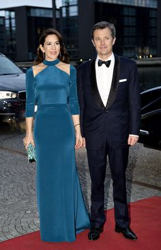 King Philippe and Queen Mathilde welcome Queen Margrethe, Crown Prince Frederik, Crown Princess Mary, Prince Joachim, and Princess Marie to their Return Gala at the Black Diamond on March 29, 2017