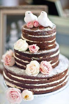 naked wedding cake with love birds wedding cake topper