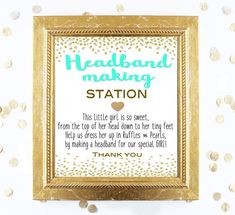Baby Shower Sign  Headband Making Station Teal Sign  by ImageOak