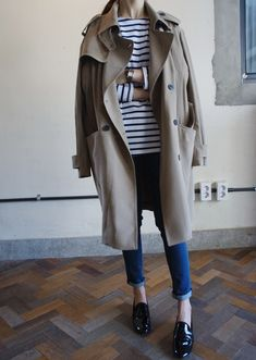 breton shirt + trench coat