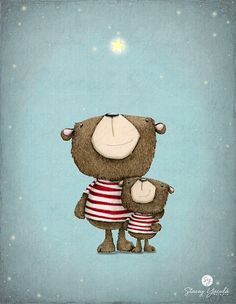 art  print -  Bear - red stripes - stars - illustration - wishes - 'WISH UPON A STAR!'