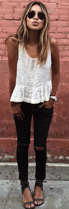 White Ruffle Hem Loose Cami Black Ripped Jeans Black Sandals Fall Inspo by Sincerely Jules