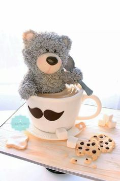 www.cakecoachonline.com - sharing...Teddy bear in coffee cup cake