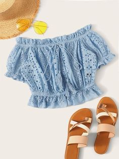 Ruffle Hem Tie Fringe Schiffy Top Check out this Ruffle Hem Tie Fringe Schiffy Top on Shein and explore more to meet your fashion needs! Girls Fashion Clothes, Teen Fashion Outfits, Girl Fashion, Girl Outfits, Fashion Dresses, Clothes For Women, Cute Summer Outfits, Cute Casual Outfits, Pastel Fashion