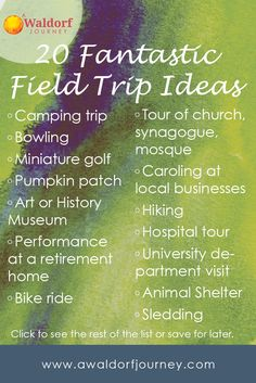 Who doesn't love a field trip?! Here's a list of ideas and a resource for planning. 20 Fantastic Field Trip Ideas (and why you should take them) http://www.awaldorfjourney.com/2016/08/20-fantastic-field-trip-ideas/