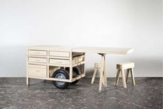 Pop-Up Retail Carts  - Swedish retailer COS has collaborated with design studio Chmara Rosinke to create these unique pop-up retail carts that beautifully showcases a min...