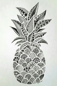 Drawings – Zentangle art – Doodle art – Pineapple art – Doodle drawings – Art drawings – The p Doodle Art Drawing, Zentangle Drawings, Art Drawings Sketches, Drawing Drawing, Doodles Zentangles, Zen Doodle, Drawing Tips, Easy Drawings, Simple Doodle Art