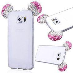 Etui Galaxy S6, GrandEver Coque Pour Samsung Galaxy S6 Silicone TPU Etui Souple Housse Glitter Bling Brillant Transparent Arrière Strass Oreille Souris Motif Shell Cas Haute qualité Couverture Accessories de Protège Protecteurs {Anti-Choc} {Anti-Shock Bumper} Defender Crystal Sparkle Gel Skin Case pour Samsung Galaxy S6 --- Rose