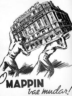 Cartaz de divulgação da mudança da loja Mappin Stores da Praça do Patriarca para a Praça Ramos de Azevedo, Centro de São Paulo. 1939.