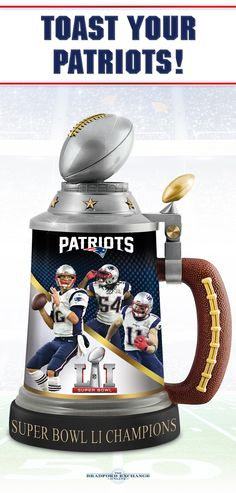 Lift a toast to your Super Bowl LI Champions, the New England Patriots with this commemorative stein. Hurry as only 5,000 will ever be made!