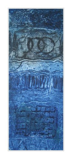 Blue with Black abstract.  by Shelia White.  Collagraph  (32 x 13cm)  www.sheilawhite.com.au