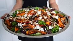 Salad with oven roasted pumpkin