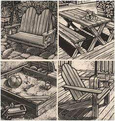 Free DIY Backyard Furniture and Project Plans from CalRedwood.org -  Get complete, step-by-step building plans for Adirondack chairs and porch swings, wooden planters, a picnic table, a garden potting center, a sandbox and a garden bench.