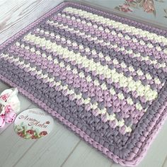 """Best 11 This DIY rug gives new meaning to the phrase, """"From rags to riches.Half Moon Rugs - 10 Stylish Crochet Designs for a Personal TouchCreative Crochet in a DayPhoto from album Crochet Pouf, Crochet Carpet, Free Crochet, Diy Crafts Rugs, Knitting Patterns, Crochet Patterns, Crochet Placemats, Granny Square Crochet Pattern, Beautiful Crochet"""