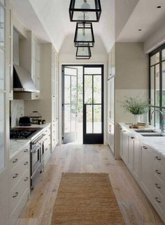 Best Galley Kitchen Design Ideas foor this year Part 5 ; galley kitchen with island; galley kitchen remodel before and after; Interior Modern, Home Interior, Interior Design Kitchen, Interior Doors, Galley Kitchen Design, Galley Kitchen Remodel, Ikea Galley Kitchen, White Galley Kitchens, French Interior Design