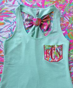 Items similar to Monogrammed Lilly Pulitzer Pocket Bow Racerback Tank on Etsy Preppy Outfits, Preppy Style, Spring Outfits, Cute Outfits, My Style, Preppy Clothes, Monogram T Shirts, Embroidery Monogram, Racerback Tank