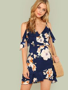 Get This SHEIN Multicolor Vacation Backless Boho Bohemian Beach Flounce Cold Shoulder Floral Print Dress Summer Women Casual Dress Woman Outfits, Fashion Outfits, Dress Fashion, Fashion Women, Fashion Ideas, Stylish Outfits, Cheap Fashion, Fashion 2018, Fashion Trends