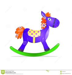 Blue Rocking Horse Toy With Red Mane Icon Royalty Free Stock Photo ...