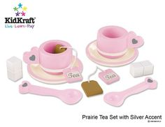 KidKraft Prairie Tea Set Two tea cups and two sugar cubes Two teabags and two mixing spoons Precious heart artwork Made of wood No assembly required