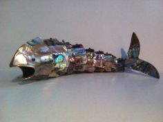 Mexican Silver Articulated Fish. Vintage Abalone Mother of Pearl Bottle Opener