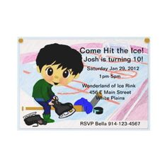 #Hockey Party  Get ready to skate laugh and play with this cute hockey invitation . Back is blank.. you could add a photo or more info. Personalize this unique invitation for your hockey party ! Great for a hockey themed party.