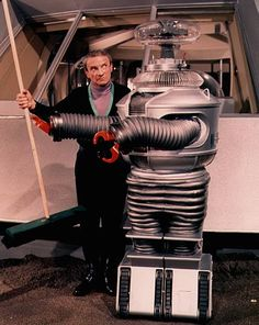 """""""Lost in Space"""" (1965-68)  Jonathan Harris as Dr. Zachary Smith, Bob May as Robot"""