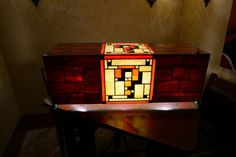 Stained Glass Super Mario Lamp  SOURCE  question mark super mario super mario bros mario stained glass glass project diy lamp glow awesome nintendo cool video games video game gaming geek nerd otaku gamer collectable collection #anime #cosplay #costume #otaku #gamer #videogames