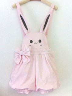 Pink Lolita Shorts Print Bow Cotton Suspender Bloomers for Women
