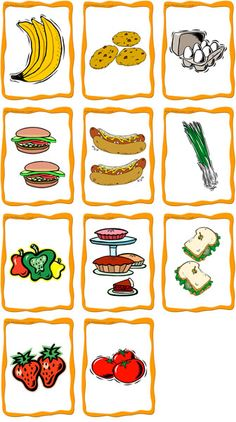 food 2Content bananas, cookies, eggs, hamburgers, hot dogs, onions, peppers, pies, sandwiches, strawberries, tomatoes